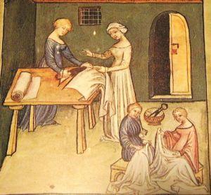 women sewing linen