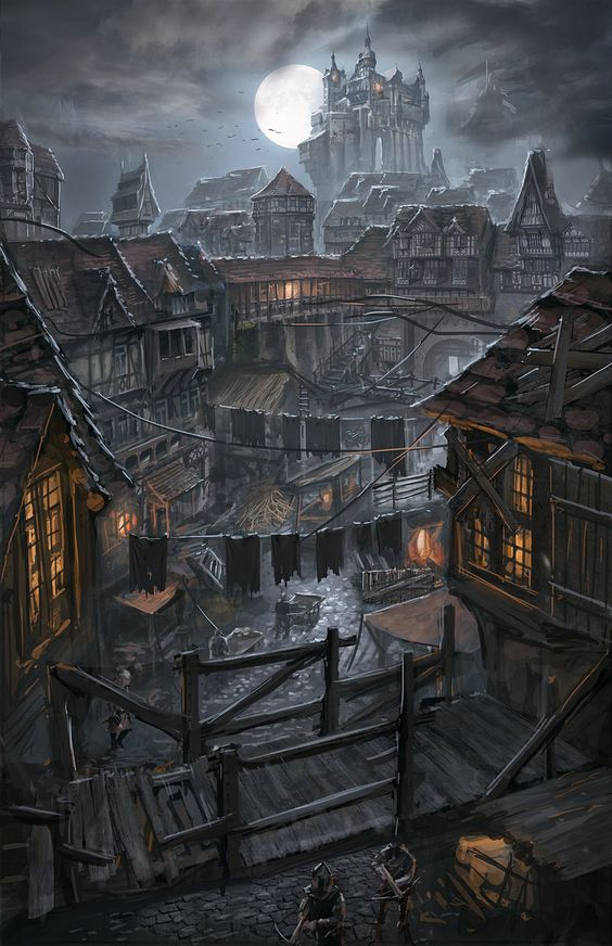 """Night Over the Poor District by ortsmor"